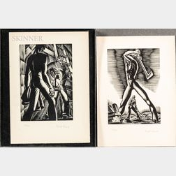 Lynd Ward (American, 1905-1985)      Two Woodcuts: The Wood Cutter