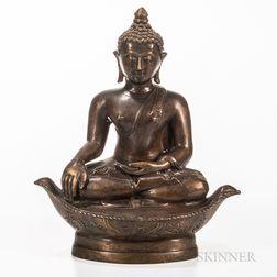 Thai Bronze Buddha on a Boat-form Base