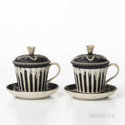 Two Wedgwood Black Jasper Dip Covered Cups and Saucers