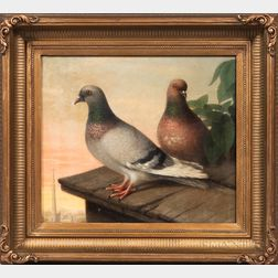 American School, 19th Century    Two Pigeons on a Rooftop at Twilight