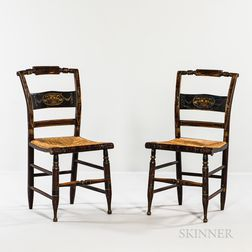 Pair of Sheraton Fancy Painted Side Chairs