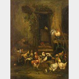 Claude Guilleminet (French, 1821-1866)  Barnyard Scene with Chickens, Roosters, and Pheasant