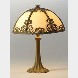 Slag Glass Metal Overlay Table Lamp