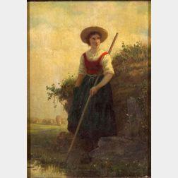 Henri van Seben (Belgian, 1825-1913)    Waiting by the Pond