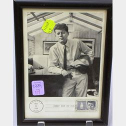 Framed 1964 First Day Cover Stamp with President John F. Kennedy Photograph.