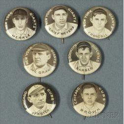 Seven 1910-1912 Sweet Caporal Cigarettes Baseball Pins