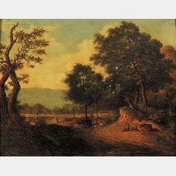 Attributed to John Berry Crome (British, 1794-1842)      Figures on a Road by the River