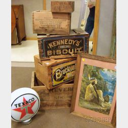 Group of Retail and Shipping Crates, a Framed Print, and Texaco Gasoline Sign
