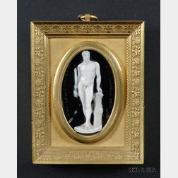 Italian Carved Hardstone Cameo of Hercules after Canova