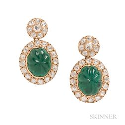 18kt Gold, Carved Emerald, and Diamond Earrings