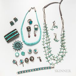 Group of Southwestern Silver and Turquoise Jewelry