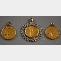 Three U.S. Gold Coins Mounted as Pendants