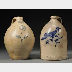 Two Norton Stoneware Jugs with Cobalt Bird and Flower