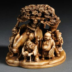 Ivory Carving of Seven Lucky Gods