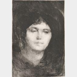 Eugène Carrière (French, 1849-1906)      Two Portrait Heads of Women: Rêverie (2e planche)