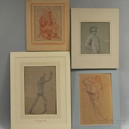 American and European Schools, 18th/19th Century Four Unframed Figure Drawings: Attributed to John Singleton Copley (American, 1737-181