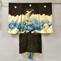 Japanese Child's Painted Silk Kimono