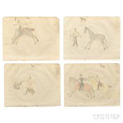 Four Framed Plains Ledger Drawings