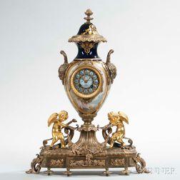Sevres Porcelain and Ormolu-mounted Mantel Clock
