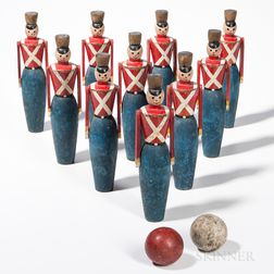 Painted Soldier Bowling Pin Game