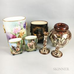 Seven Limoges Hand-painted Porcelain Items