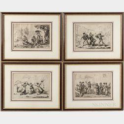 Four Roman Genre Scenes Engravings After Bartolomeo Pinelli