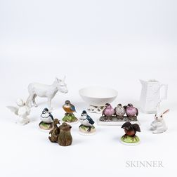 Eleven Boehm Ceramic Animals and Tableware Items
