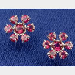 Platinum and Pink Sapphire Flower Stud Earrings, Cathy Waterman