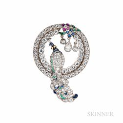 Platinum and Diamond Peacock Pendant/Brooch