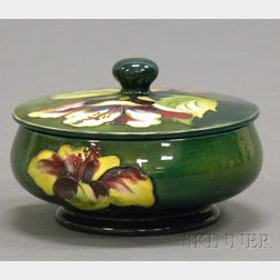 Moorcroft Pottery Hibiscus Pattern Footed Jar with Cover