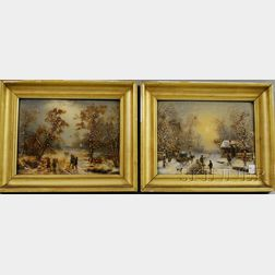 Louis Claude Malbranche (French, 1790-1838)      Lot of Two Genre Scenes: Village Scene in Winter