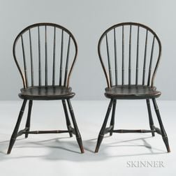 Pair of Black-painted Bamboo-turned Bow-back Windsor Side Chairs