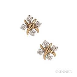 "18kt Gold, Platinum, and Diamond ""Lynn"" Earrings, Schlumberger for Tiffany & Co."
