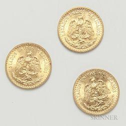 Three 1945 Mexican 2 Pesos Gold Coins