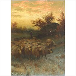 Francis Wheaton (American, b. 1849)  Day's End, Leading the Flock Home