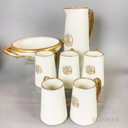 Seven Lenox Dragon-handled Porcelain Items