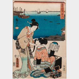 Two Brushes: Utagawa Hiroshige (1797-1858) and Toyokuni III (1786-1865), Woodblock Print