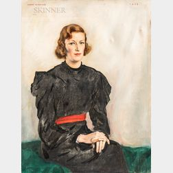 John Lavalle (American, 1896-1971)      Portrait of a Seated Young Woman with a Red Sash