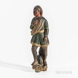 Carved and Painted Model for an Indian Chief Figurehead