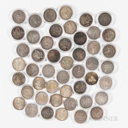 Group of Morgan and Peace Dollars