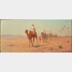 Lemuel D. Eldred (American, 1848-1921)    The Desert Caravan Sets Out