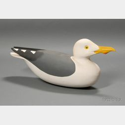 Hollow Carved Great Black-backed Gull Decoy
