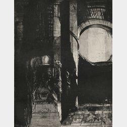Odilon Redon (French, 1840-1916)      Et partout ce sont des colonnes de basalte... la lumière tombe des voûtes
