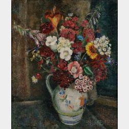 Helen Alton Farnsworth Sawyer (American, 1900-1999)      Bouquet in the Quimper Jug