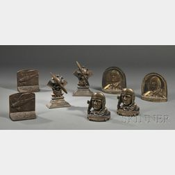 Four Pairs of Charles Lindbergh Theme Bookends