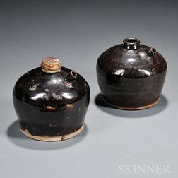 Pair of Brown-glazed Pottery Soy Sauce Jars