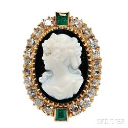 Victorian Gold, Hardstone Cameo, and Diamond Pendant/Brooch