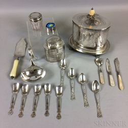 Sterling Silver Enameled Box, Two Silver-plated Biscuit Tins, a Cut-glass Cannister, and Various Flatware