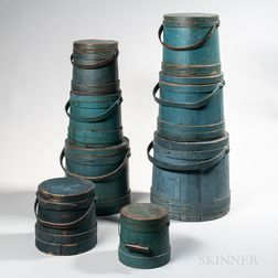 Stack of Eight Blue-painted Lidded Pails