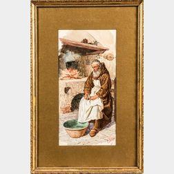 Edouardo Vitali (Italian, 19th Century)      Contemplative Monk Peeling Potatoes by a Hearth
